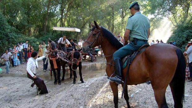 La unidad del Seprona realizando labores de vigilancia en el camino a la aldea del Rocío