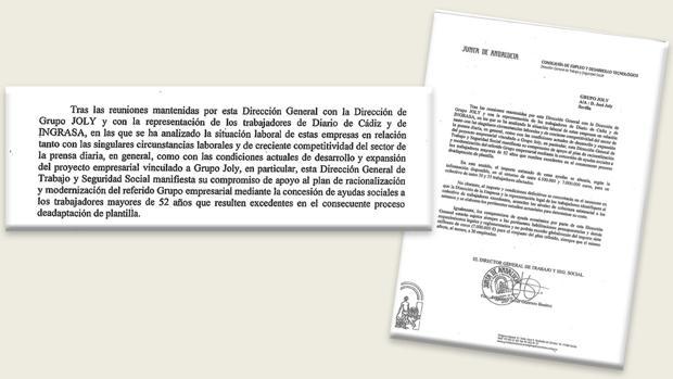La carta que el director de Trabajo de la Junta, Javier Guerrero, le mandó al grupo Joly