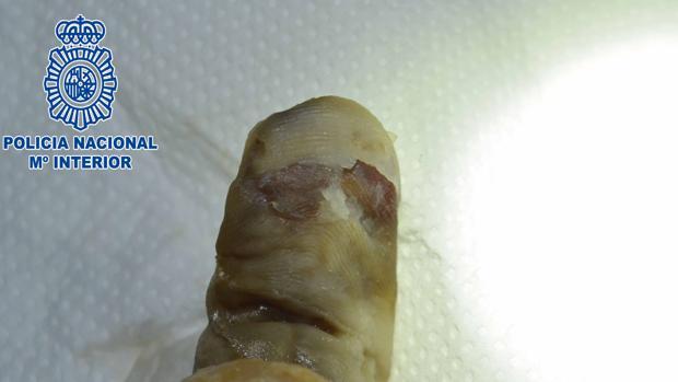 Huella dactilar regenerada por la Policía Científica al desaparecido