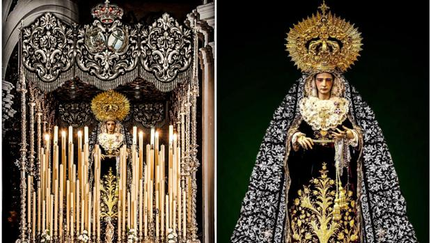 El hermano de Vera-Cruz, Jesús Savona Romero, ha realizado estos montajes con los diseños de palio y manto.