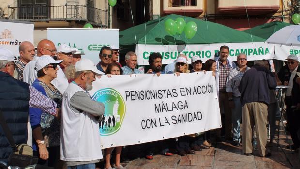 Consultorio de campaña en protesta por la precariedad de la Atención Primaria.