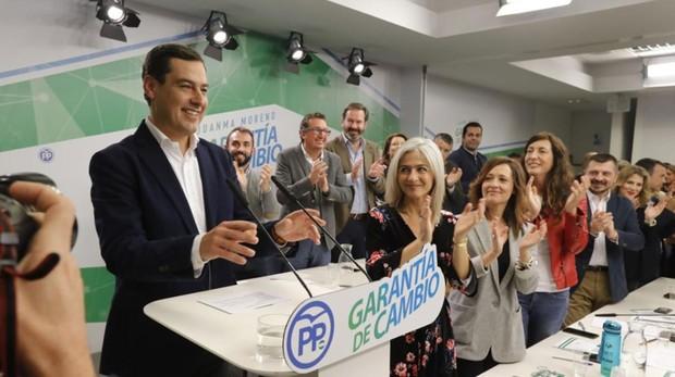 Juanma Moreno, este viernes en la sede regional de su partido en Sevilla