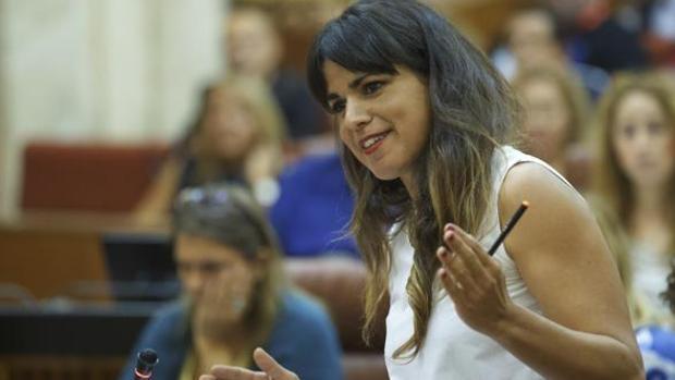 Teresa Rodríguez, en el Parlamento andaluz