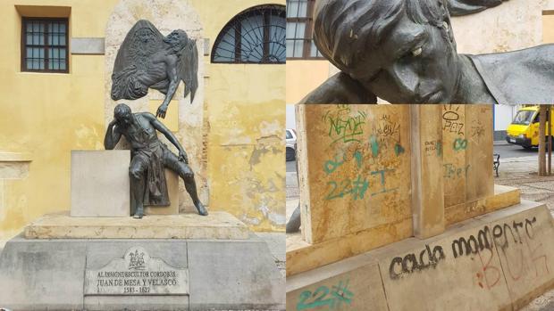 Pintadas en el homenaje a Juan de Mesa
