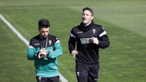 El delantero del Córdoba CF Federico Piovaccari, este martes en el entrenamiento