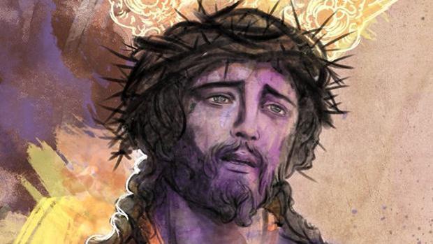 Imagen del Despojado del cartel del Vía Crucis obra del artista sevillano Manuel Domínguez Romero.