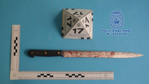Cuchillo utilizado presuntamente,en la agresión
