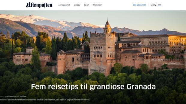 El reportaje del diario Aftensposten sobre Granada, en su versión digital.