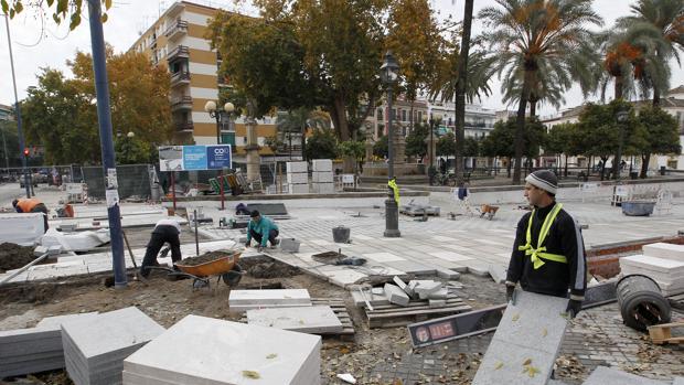 Obras en la plaza del Cristo de Gracia en 2015