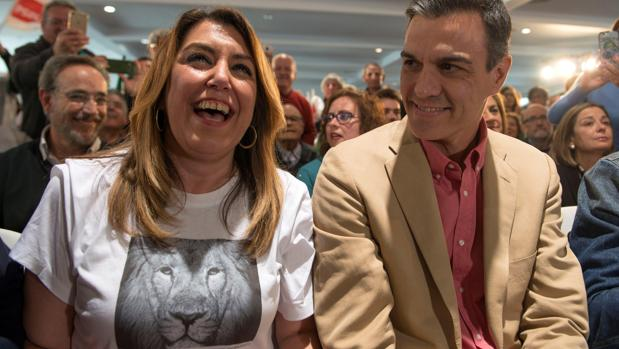 La secretaria general del PSOE andaluz, junto a Pedro Sánchez este pasado fin de semana