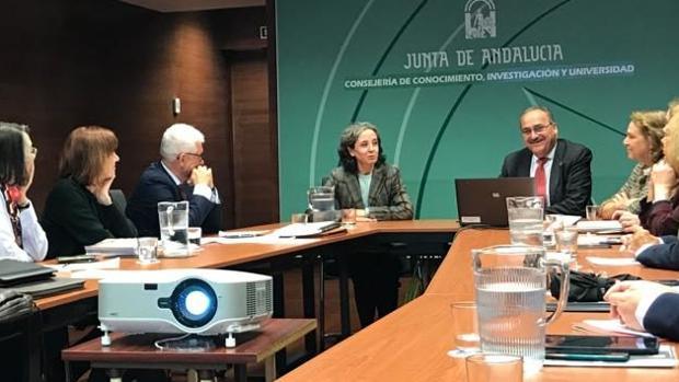 Pilar Ariza durante el foro de los Consejos Sociales de las Universidades de Andalucía