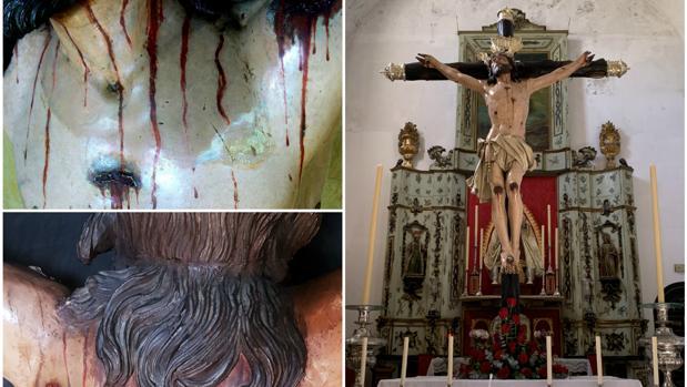 Detalles del pecho y de la espalda de la imagen y a la derecha, el Cristo ya restaurado