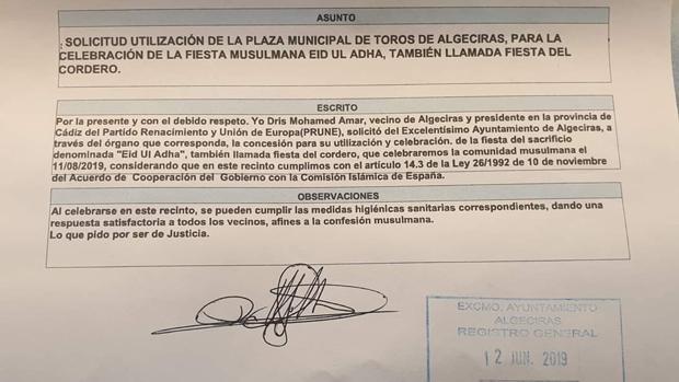 Imagen del escrito presentado por este partido en el Ayuntamiento de Algeciras.
