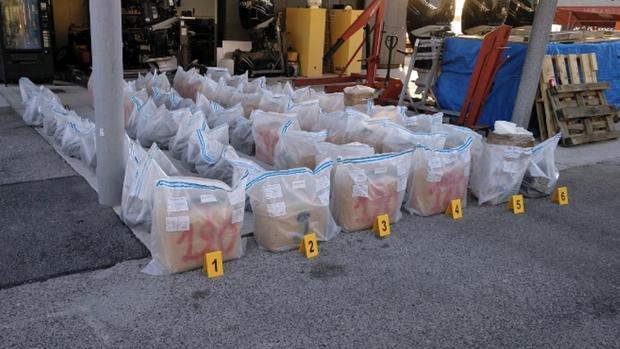 Imagen de la droga intervenida por la Policía de Gibraltar