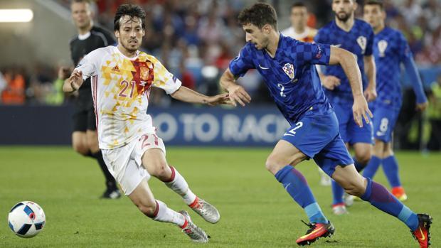 Sime Vrsaljko en el Croacia-España de la Eurocopa