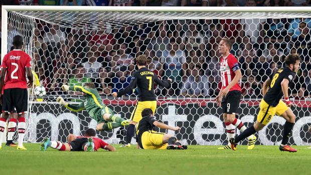 Saúl marca el gol de la victoria para el Atlético
