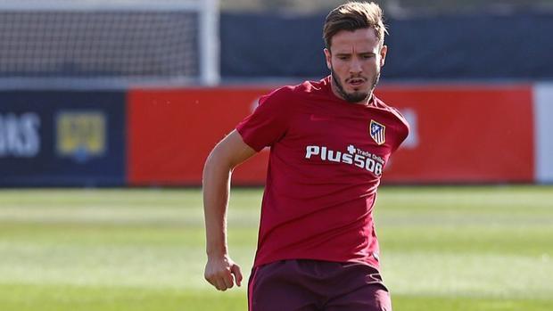 Saúl, en un entrenamiento con el Atlético
