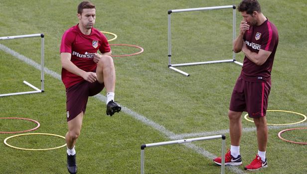 Gabi, en un entrenamiento del Atlético