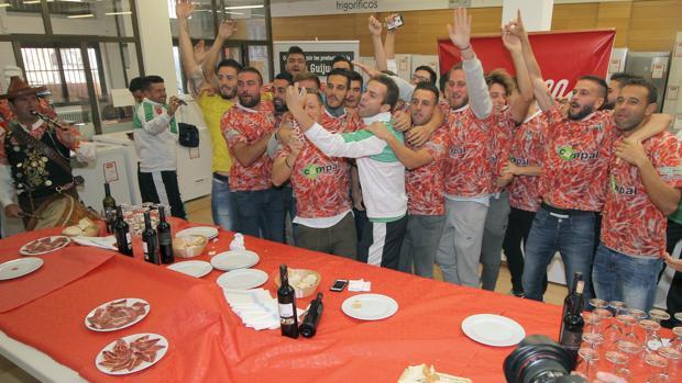 Así celebraron los jugadores del Guijuelo el resultado del sorteo