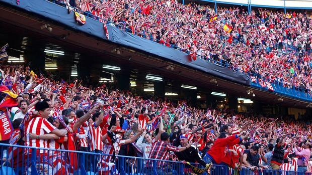 Celebración de un gol en el Vicente Calderón
