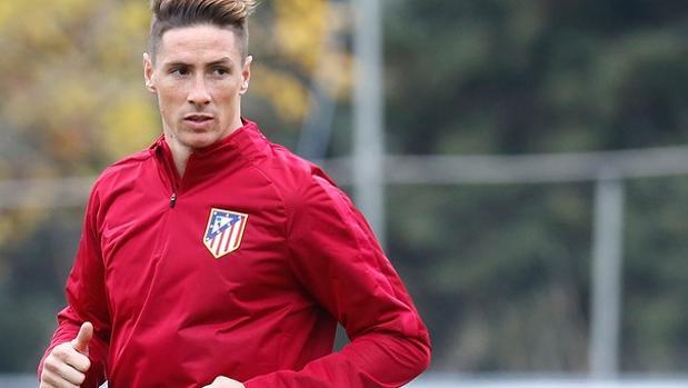 Fernando Torres, en un entrenamiento con el Atlético de Madrid