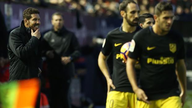 Simeone, durante el partido del Atlético ante Osasuna