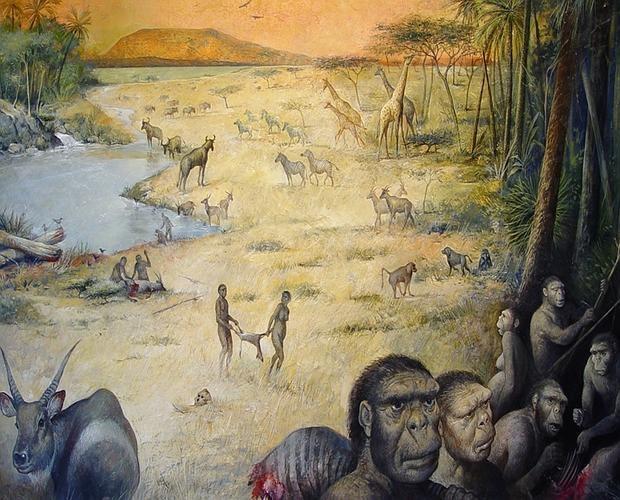 Recreación artística de un hábitat humano en África de hace 1,8 millones de años