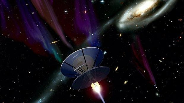 Reprsentación artística de una nave interestelar, basada en un sistema de propulsión de fusión nuclear