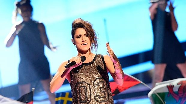 Barei, durante su actuación en la final de Eurovisión
