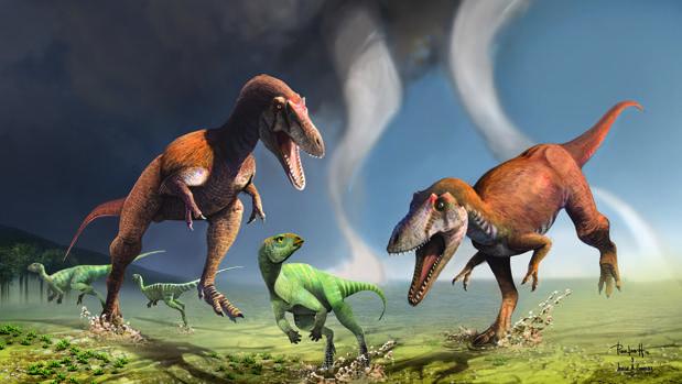 Dos ejemplares de Gualicho shinyae persiguen a otro dinosaurio