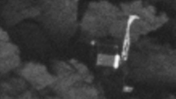 Primer plano de Philae. El aterrizale del módulo falló y no se pudo conseguir que los paneles solares alimentaran las baterías para hacer experimentos científicos