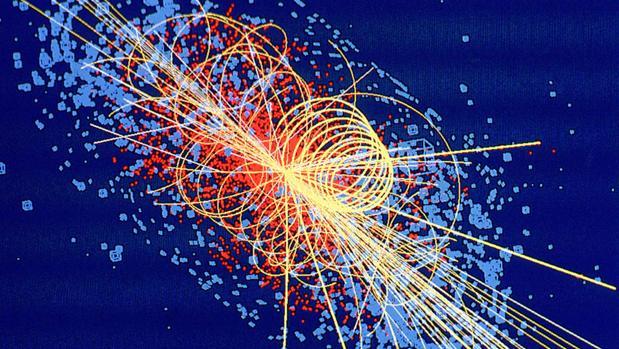 Simulación de colisión de protones en el experimento CMS