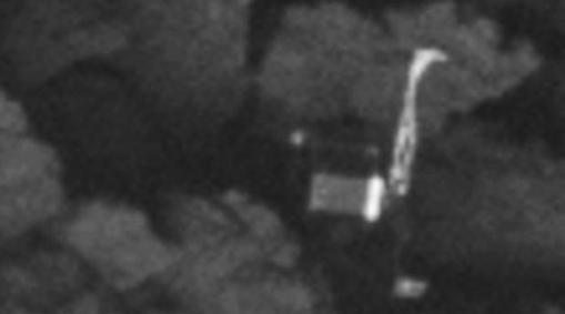 Imagen de la «tumba» de Philae. No logró anclarse a la superficie y salió rebotada hasta caer de lado
