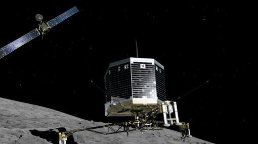 Representación de la misión Rosetta, con la sonda orbitadora del mismo nombre al fondo, y el pequeño módulo de aterrizaje Philae, en el centro