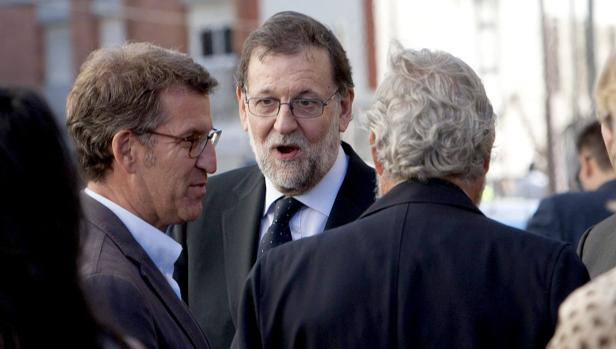 Rajoy y Feijóo, ayer en O Porriño