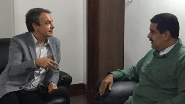 Zapatero y Maduro, durante su reunión de hoy en Caracas