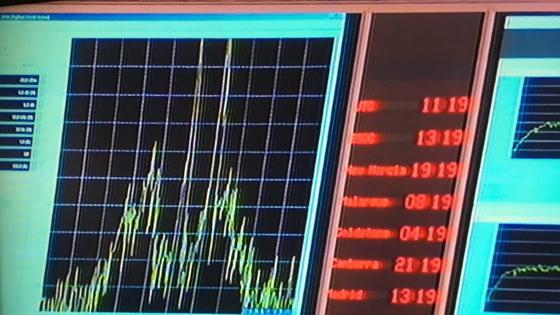 En esta imagen se ve la señal de Rosetta a las 12.19 horas
