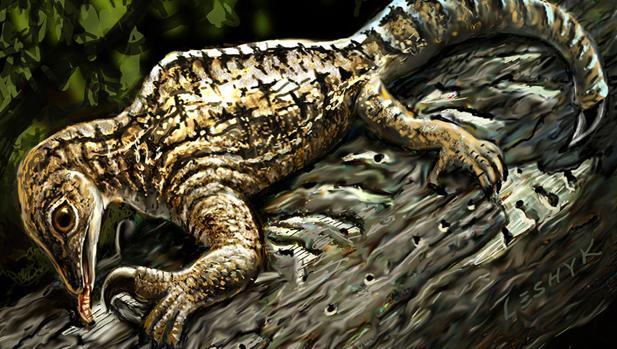 Recreación artística del drepanosaurus