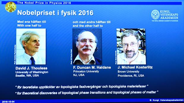 Thouless, Haldane y Kosterlitz, premiados con el Nobel de Física