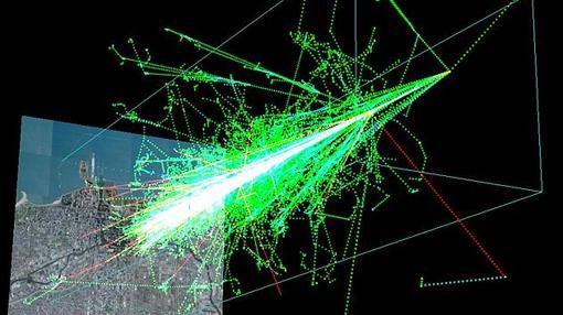 Simulación por ordenador de una cascada de reacciones nucleares en la atmósfera provocadas por la llegada de rayos cósmicos