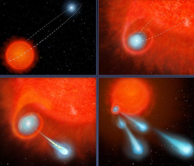 Ilustración de cómo el sistema binario de estrellas V Hydrae lanza bolas de plasma al espacio