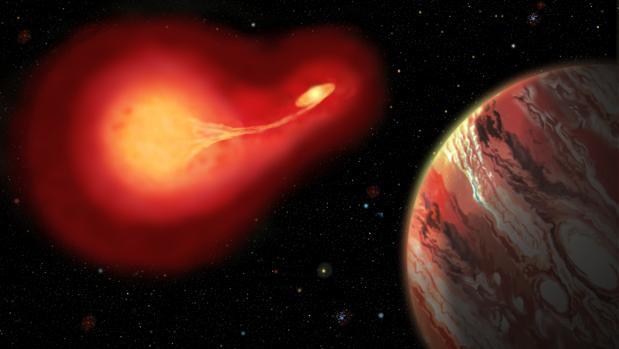 Recreación artística de un planeta que orbita dos estrellas envejecidas con intercambio de material