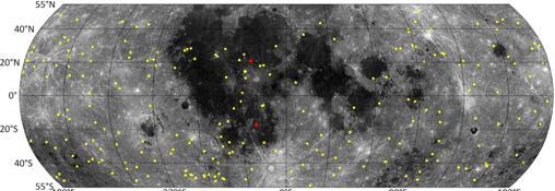 Posición de los nuevos impactos descubiertos en amarillo y rojo