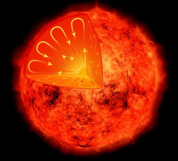Ilustración que representa el interior de una estrella de baja masa. Esas estrellas estructuras interiores diferentes a la de nuestro Sol, por lo que no se espera que muestren ciclos de actividad magnética. Sin embargo, Próxima Centauri desafía esa expectativa y muestra signos de un ciclo de actividad de 7 años