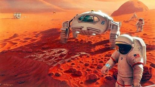 Recreación artística de una futura colonia en Mart