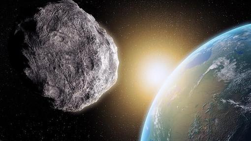 Representación de un asteroide aproximándose contra la Tierra