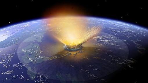Representación de un asteroide de diez kilómetros chocando contra la Tierra
