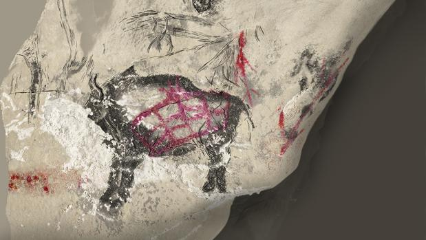 Reproducción de un bisonte pintado en la cueva Marsoulas (Haute-Garonne, Francia) durante la época Magdaleniense