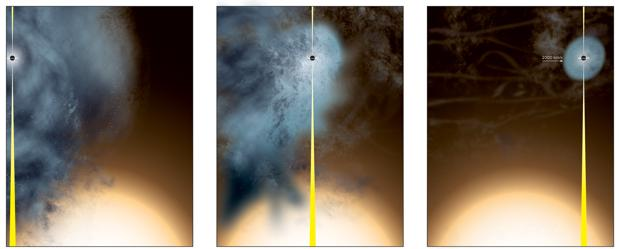 Recreación de cómo se originó el agujero negro supermasivo «casi desnudo»