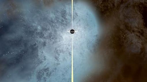 Recreación del agujero negro supermasivo «casi desnudo»